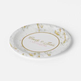Assiettes En Papier Économies de marbre blanches de scintillement d'or