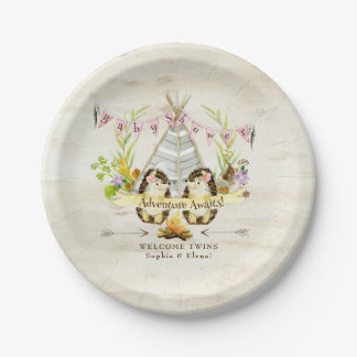 Assiettes En Papier Écorce de bouleau jumelle de hérisson de baby