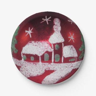 Assiettes En Papier Église rouge vintage de Chambre de neige de Noël