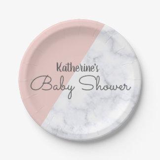 Assiettes En Papier Élégant rougissent le baby shower de marbre rose