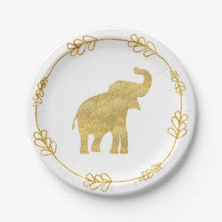 Assiettes En Papier éléphant d'or mignon de bébé