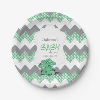 Assiettes En Papier Éléphant mignon idiot vert drôle de bébé de