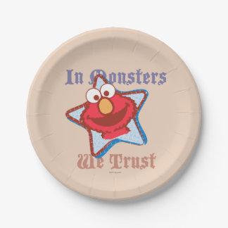 Assiettes En Papier Elmo - dans les monstres nous faisons confiance