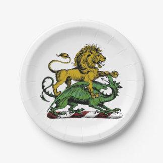 Assiettes En Papier Emblème héraldique de crête de lion et de dragon
