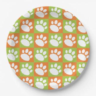 Assiettes En Papier Empreinte de patte orange et vert de damier
