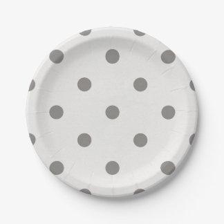 Assiettes En Papier Endroits de papier - blanc avec le pois gris