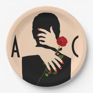 Assiettes En Papier Épouser romantique d'art déco de couples