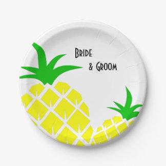 Assiettes En Papier Épouser vert et jaune d'ananas