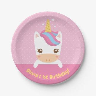 Assiettes En Papier Ęrs plats de fête d'anniversaire de petite licorne
