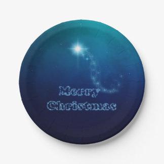 Assiettes En Papier Étoile de ciel de Noël de Bethlehem - plaque à