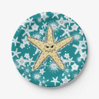 Assiettes En Papier Étoiles de mer aiguës jaunes drôles avec un