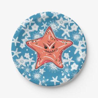 Assiettes En Papier Étoiles de mer rouges drôles avec un sourire