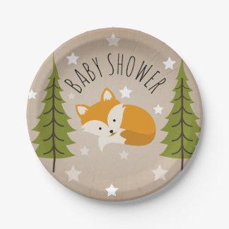 Assiettes En Papier Étoiles somnolentes de Fox + Baby shower d'arbres