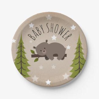 Assiettes En Papier Étoiles somnolentes d'ours + Baby shower d'arbres
