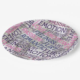 Assiettes En Papier fait des mots, grands abattages
