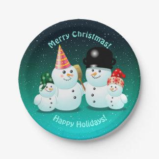 Assiettes En Papier Famille heureuse des bonhommes de neige