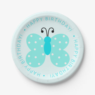 Assiettes En Papier Fête d'anniversaire bleue de papillon