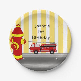 Assiettes En Papier Fête d'anniversaire de camion de pompiers