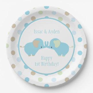 Assiettes En Papier Fête d'anniversaire jumelle de pois d'éléphants de