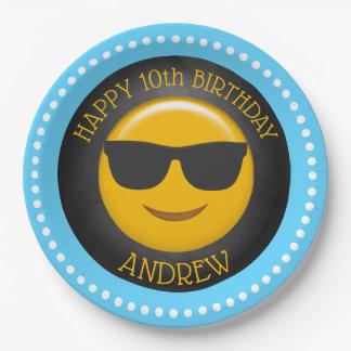 Assiettes En Papier Fête d'anniversaire mignonne d'Emoji