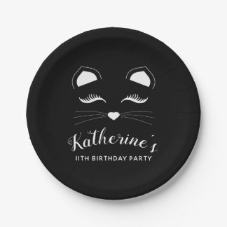 Assiettes En Papier Fête d'anniversaire noire et blanche de chat