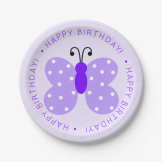 Assiettes En Papier Fête d'anniversaire pourpre de papillon