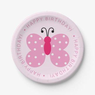 Assiettes En Papier Fête d'anniversaire rose de papillon