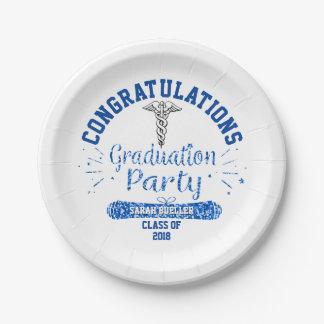 Assiettes En Papier Fête de remise des diplômes de bleu de Faculté de