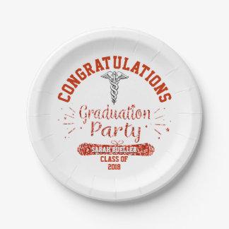 Assiettes En Papier Fête de remise des diplômes de rouge de Faculté de