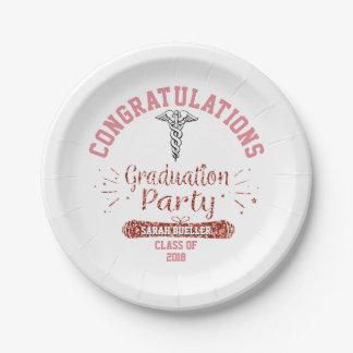 Assiettes En Papier Fête de remise des diplômes d'or de rose de rose
