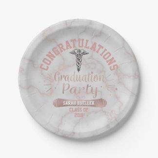 Assiettes En Papier Fête de remise des diplômes rose de marbre d'or