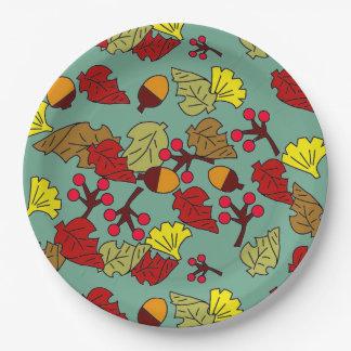Assiettes En Papier Feuillage d'automne, glands, et couleur de coutume