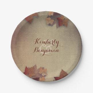 Assiettes En Papier Feuille d'érable de Bourgogne et automne rustique