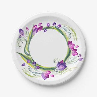 Assiettes En Papier Feuille et fleurs tropicaux. Ajoutez votre texte !