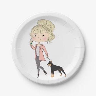Assiettes En Papier Fille avec un chien