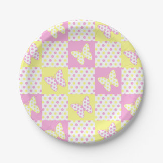 Assiettes En Papier Fille jaune rose de motif d'édredon de point de