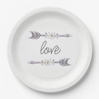 Assiettes En Papier Flèches de plat d'amour