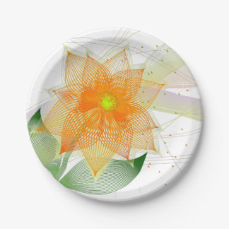 Assiettes En Papier Fleur abstraite colorée de fantaisie