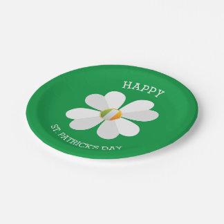 Assiettes En Papier Fleur blanche avec le jour irlandais de St Patrick