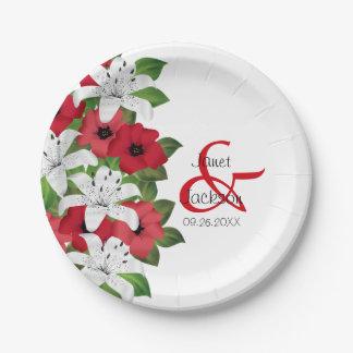 Assiettes En Papier Fleur de rouge de canneberge