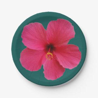 Assiettes En Papier fleur rose sur vert-foncé