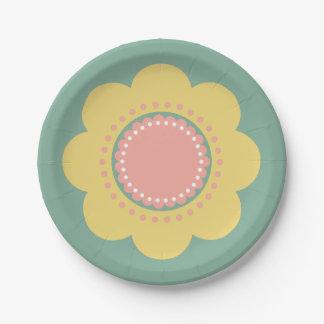 Assiettes En Papier Fleur vintage de jaune de bébé sur le bleu