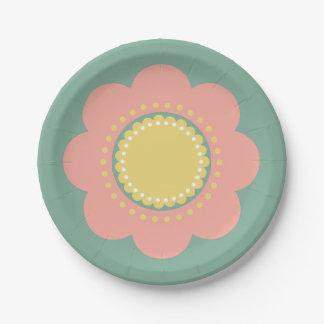 Assiettes En Papier Fleur vintage de roses pâles et de jaune