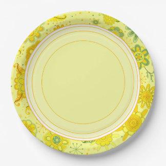 Assiettes En Papier Fleurs assez jaunes