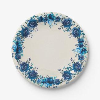 Assiettes En Papier Fleurs de cru d'aquarelle de bleu et de beige