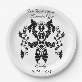 Assiettes En Papier Fleurs embellissantes noires et blanches pour
