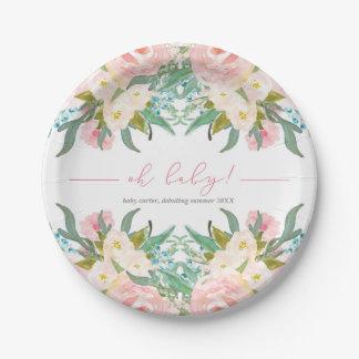 Assiettes En Papier Fleurs florales de rose de plat de baby shower