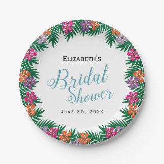 Assiettes En Papier Fleurs tropicales et douche nuptiale de branches