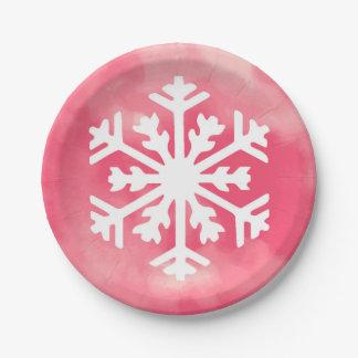 Assiettes En Papier Flocon de neige blanc sur l'arrière - plan rose