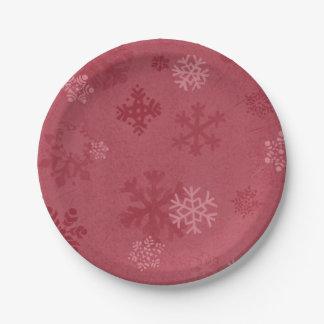 """Assiettes En Papier Flocon de neige rouge 9"""" plaque à papier"""